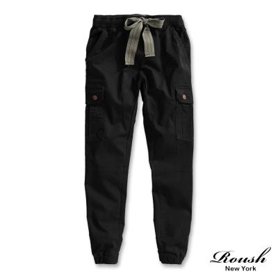 ROUSH 美式高磅數側口袋水洗束口長褲 (2色)