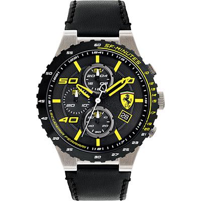 Scuderia Ferrari 法拉利 evo 三眼計時腕錶-黑x黃時標/46mm