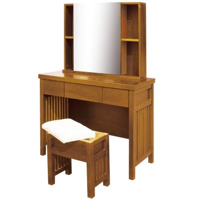 居家生活 圖文第3.2尺柚木鏡台(含椅)