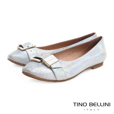 Tino Bellini 仿布紋釦帶小方頭娃娃鞋_炫光銀