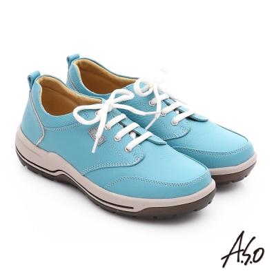 A.S.O 3A全掌 真皮綁帶氣囊寬楦休閒鞋 淺藍