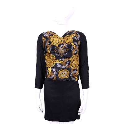 VERSACE 黑色巴洛克圖騰垂領設計七分袖洋裝