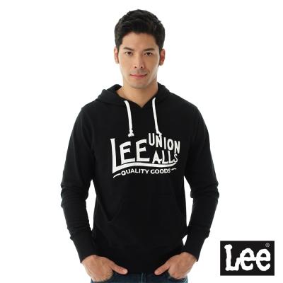 Lee 連帽厚T 白色文字印刷-男款-黑