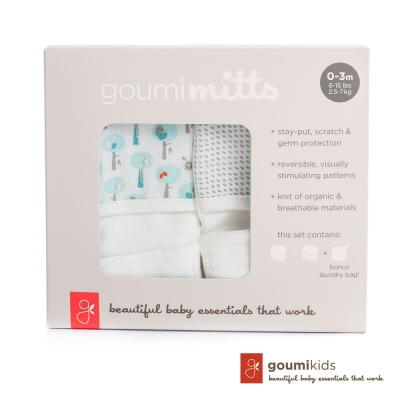 美國 GOUMIKIDS 有機棉手套2入禮盒  (愛心小樹 & 灰色點點)