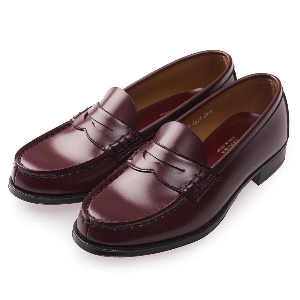 (女)日本 HARUTA 復古經典4514便士皮鞋-酒紅色