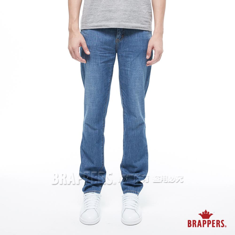 BRAPPERS 男款 HM-中腰系列-中腰全棉修身直筒褲-藍