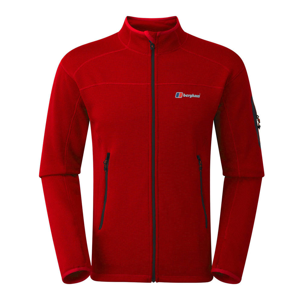 【Berghaus 貝豪斯】男款彈性刷毛保暖外套H22MU8紅