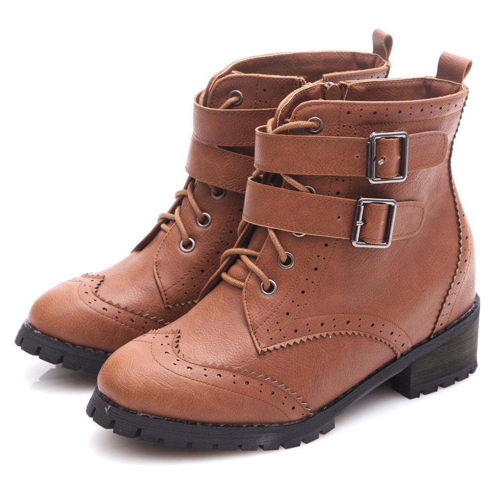 G.Ms. 英倫牛津雕花雙皮帶釦綁帶內增高短靴-咖啡