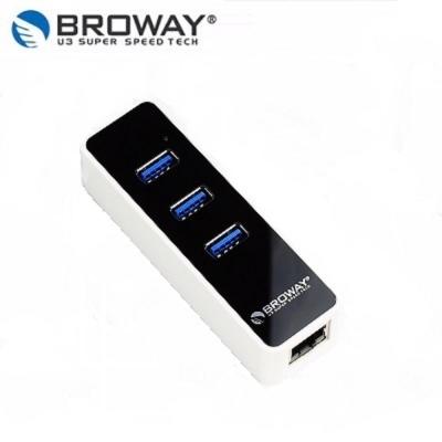BROWAY USB3.0 3PORT HUB集線器 + 1PORT 超高速乙太網路卡