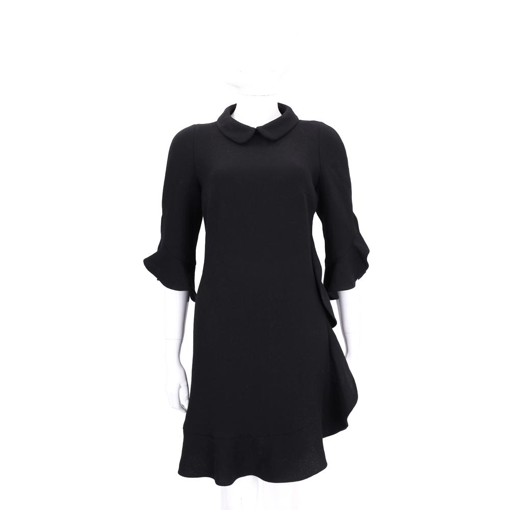 EDWARD ACHOUR PARIS 黑色荷葉邊七分袖洋裝(100%WOOL)