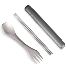 Utai超值組純鈦多功能刀叉湯匙+純鈦筷子+筷盒