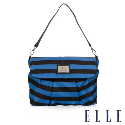 ELLE 法式優雅 海軍風 時尚休閒側背包款 搭配質感頭層皮 淑媛設計款-藍黑