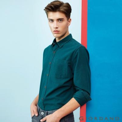 GIORDANO 男裝純棉磨毛修身單口袋長袖襯衫 - 07 墨綠
