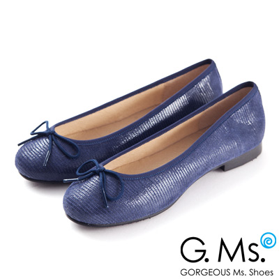 G.Ms. MIT系列-全真皮蝴蝶結蜥蝪紋芭蕾舞鞋- 蜥蝪藍