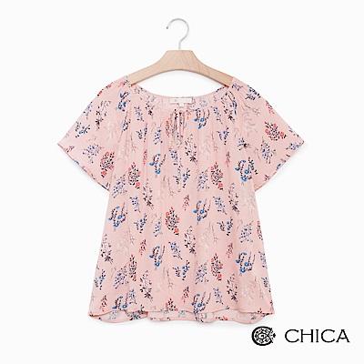 CHICA 浪漫花語一字領綁帶設計上衣(2色)