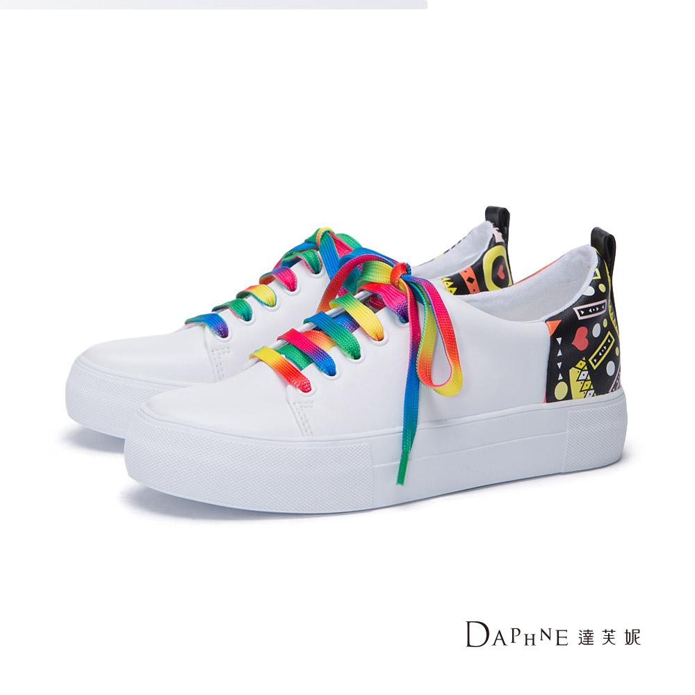 達芙妮DAPHNE 休閒鞋-印花雙鞋帶厚底休閒鞋-白