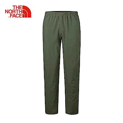 The North Face北面男款軍綠色防潑水戶外運動長褲
