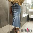 正韓 牛仔排釦不規則拼接魚尾長裙 (藍色)-W BABIES