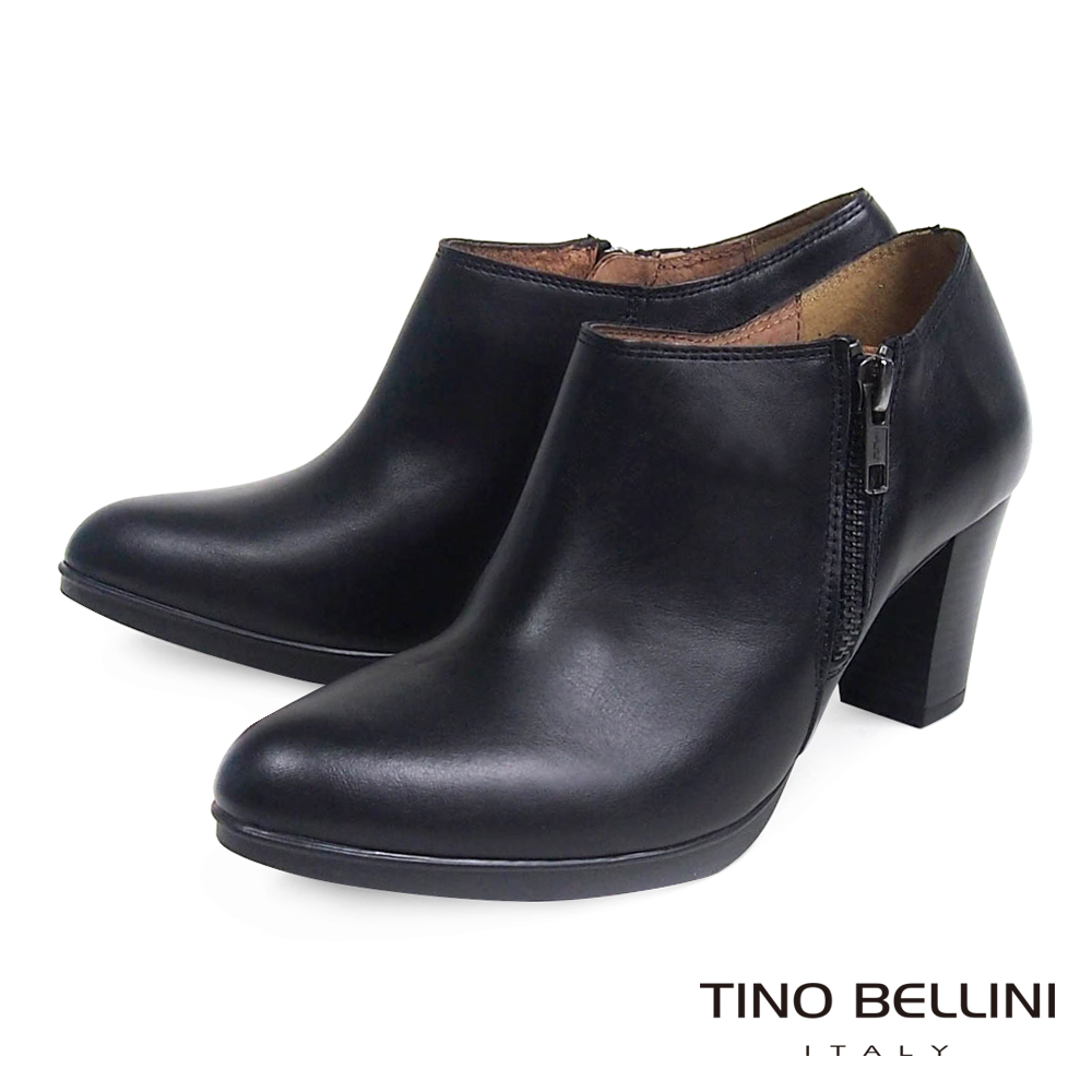 Tino Bellini 西班牙進口典雅真皮革側拉鍊7CM踝靴_黑