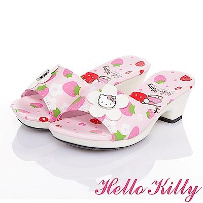 HelloKitty 草莓系列 甜心草莓舒適休閒低跟拖鞋童鞋-粉