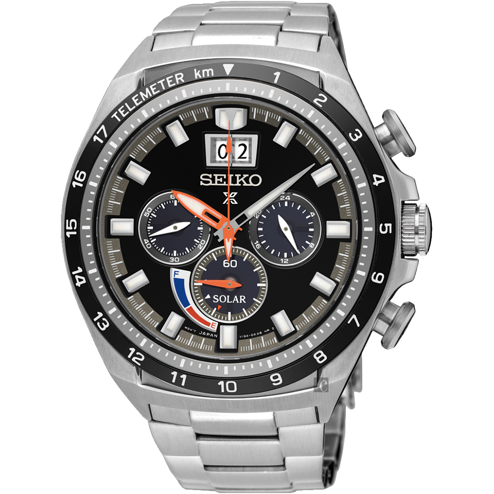 SEIKO精工 Prospex 太陽能計時手錶(SSC603P1)-黑x銀/45mm