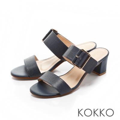 KOKKO- 迷人兩截式方形飾釦粗跟涼拖鞋-極光藍