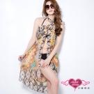 天使霓裳 度假風情 多種穿法外搭紗裙(咖啡民俗圖騰F)