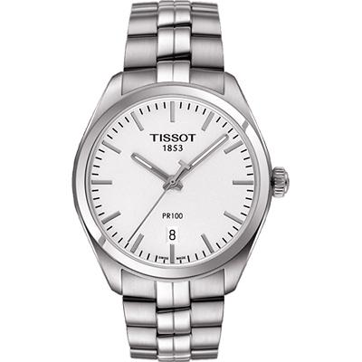TISSOT PR100經典美學時尚腕錶-銀/39mm