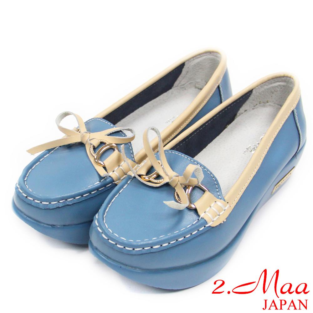 2.Maa 真皮系列-超柔軟蝴蝶結飾扣牛皮厚底包鞋莫卡辛鞋--精緻藍