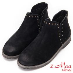 2.Maa - 時尚鉚釘磨砂牛皮造型短靴 - 黑