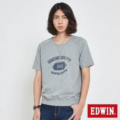 EDWIN 經典大學領印花T恤-男-麻灰
