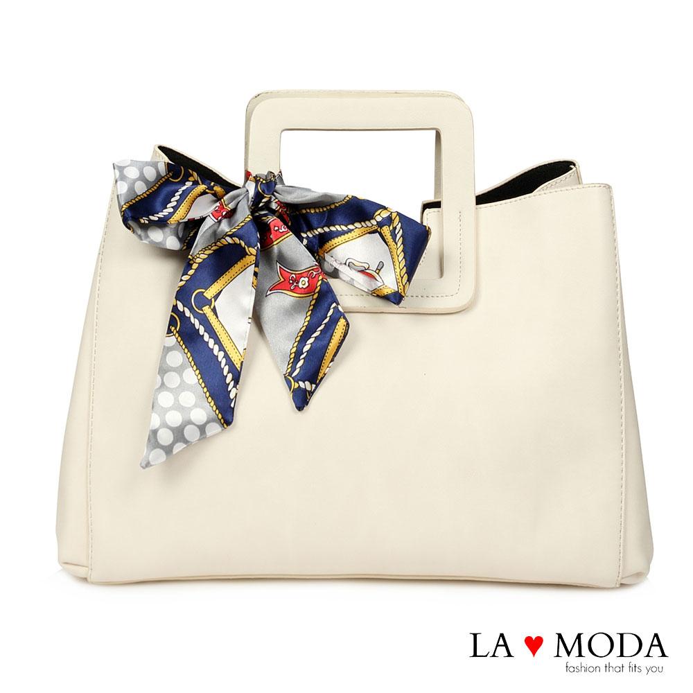 La Moda 古典優雅特色蝴蝶結緞帶大容量肩背斜背手提方包(白)