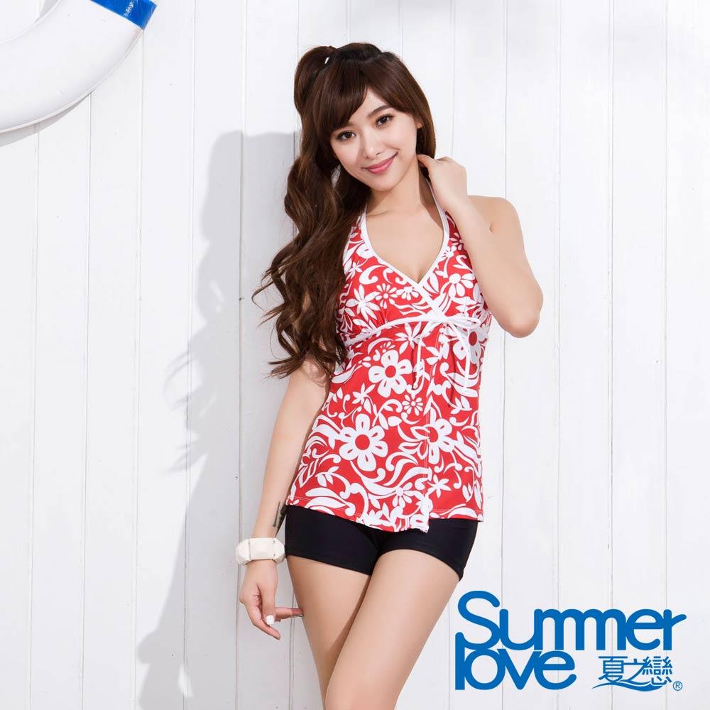 夏之戀SUMMERLOVE 艷紅長版二件式泳衣