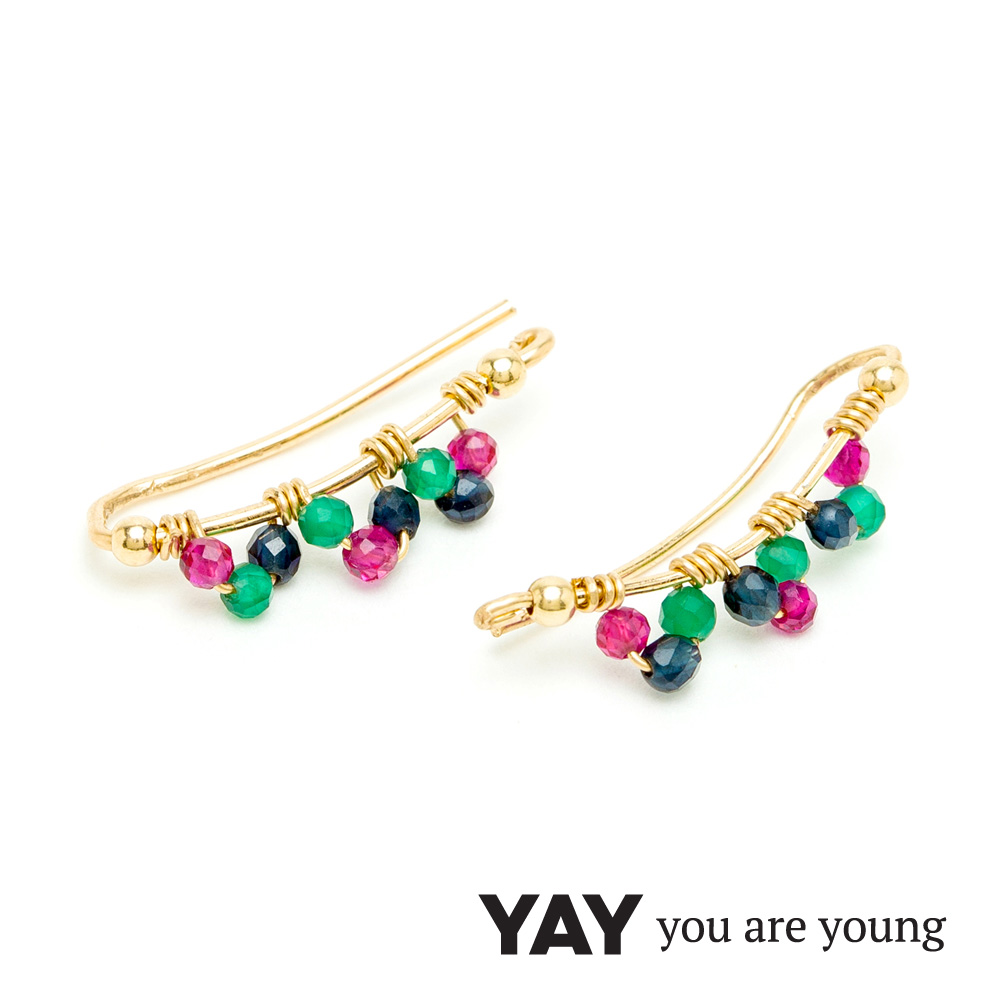 YAY You Are Young Frida 寶石花束耳環 貼合耳廓耳環 彩鑽X星辰豆豆