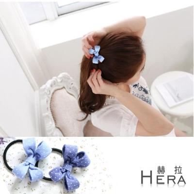 Hera  點點牛仔布蝴蝶結髮圈/髮束(兩色)