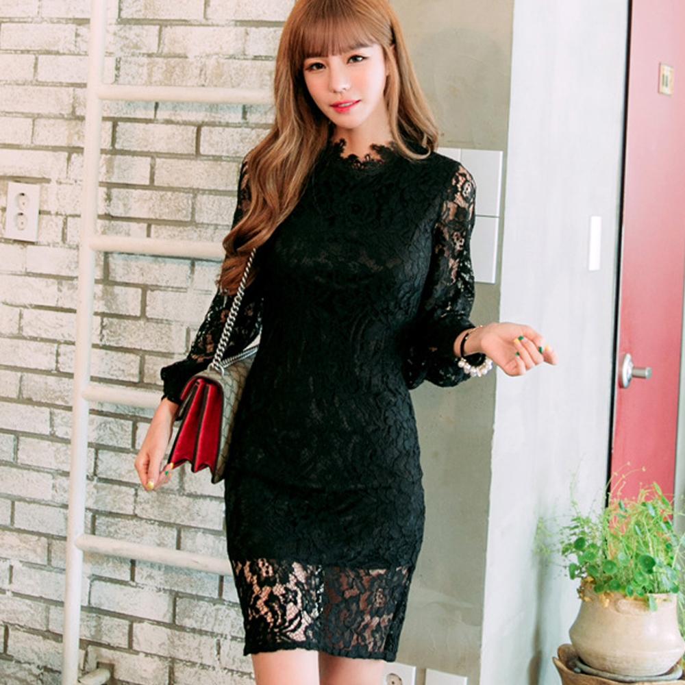 縷空蕾絲包臀窄裙洋裝(黑色)-Kugi Girl