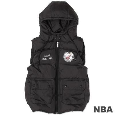 NBA-邁阿密熱火隊輕量連帽羽絨背心-黑(女)