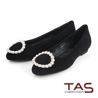 TAS水鑽大圓飾釦羊麂皮娃娃鞋-小香黑