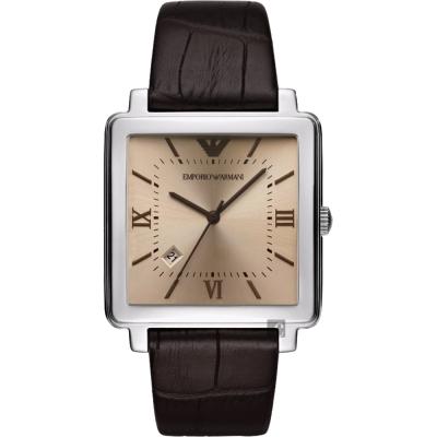 Emporio Armani Dress 亞曼尼20週年方型手錶-香檳x咖啡/38mm