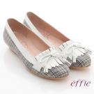 effie 慵懶英倫 格紋流蘇細蝴蝶飾楔型鞋 灰