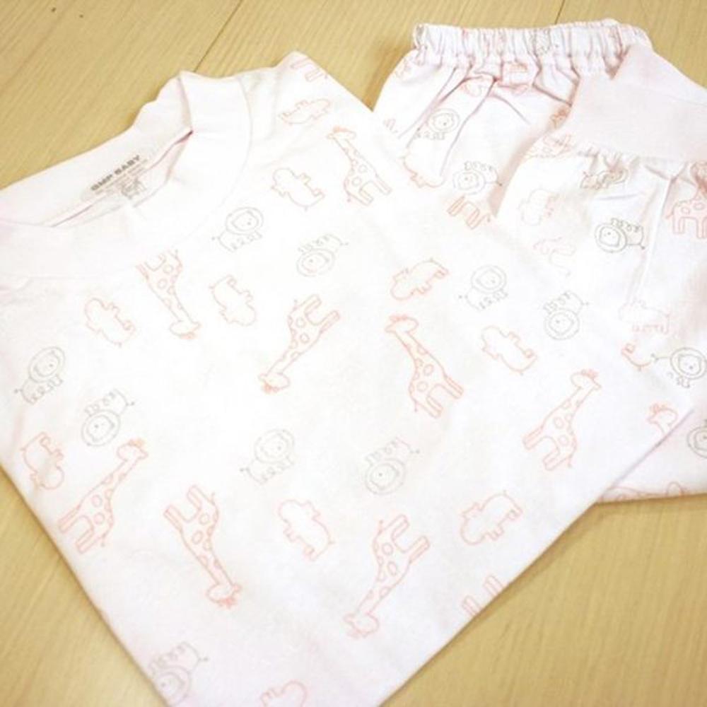 GMP BABY 舒適長頸鹿全棉圓領冷氣衫-粉紅1件