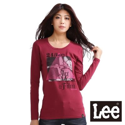 Lee-長袖-圓領印花T恤-女款-暗紅