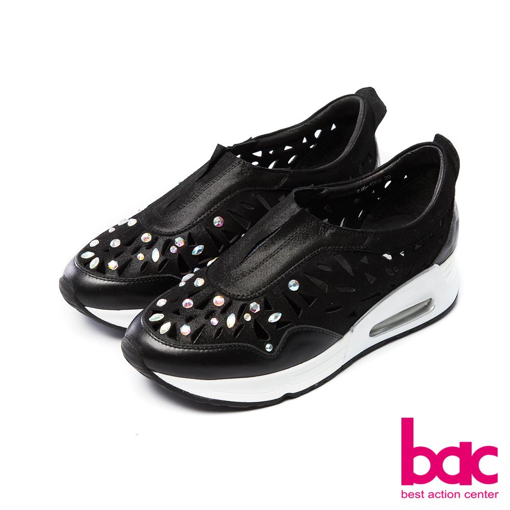 bac運動時尚-雷射鏤空鑲鑽個性風格厚底休閒鞋-黑