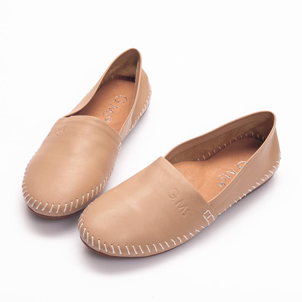 G.Ms.  超柔軟綿羊皮圓頭豆豆懶人休閒鞋-杏膚