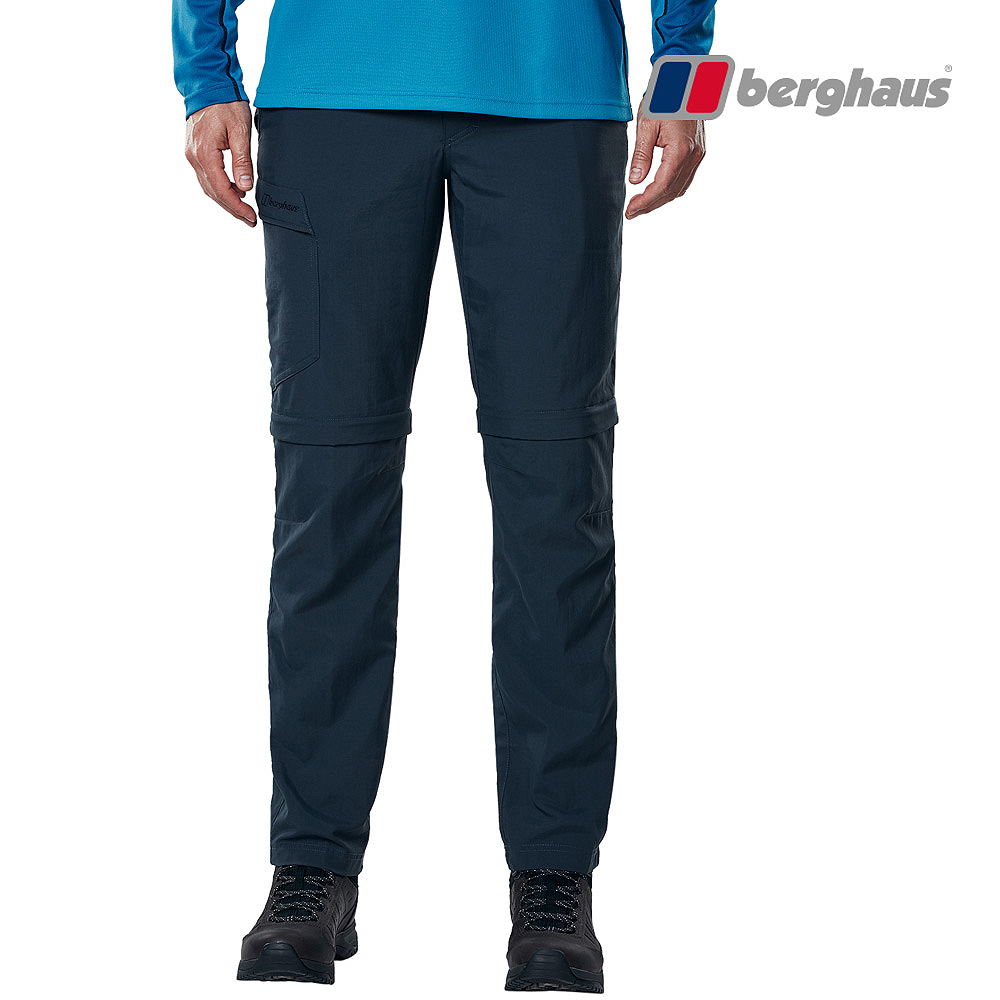 【Berghaus貝豪斯】男款超潑水快乾抗UV兩截褲S08M04-藍
