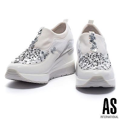 休閒鞋 AS 摩登閃爍立體縫花設計異材質拼接厚底休閒鞋-白