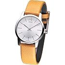 CK City 雅爵極簡品味風時尚女錶(K2G23120)-橙黃/31mm
