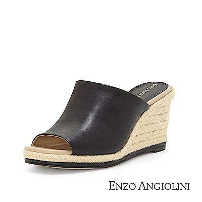 ENZO ANGIOLINI--魚口寬帶楔型涼拖鞋-都會黑
