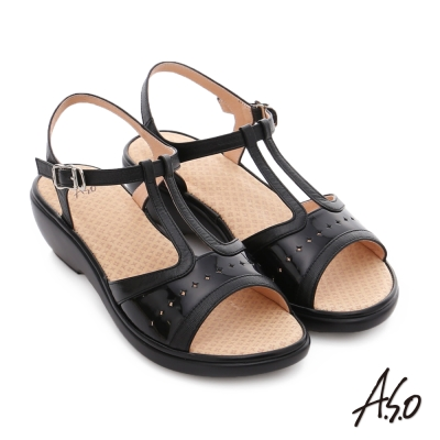 A.S.O 挺麗氣墊 全真皮寬楦鏤空氣墊楔型涼拖鞋 黑色