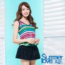 夏之戀SUMMERLOVE 比基尼泳裝 連身裙兩件式 彩色條紋